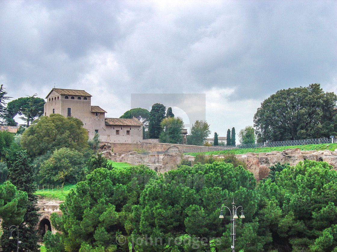 """Traditional Church Panormama From the Forum Area of Rome Italy"" stock image"