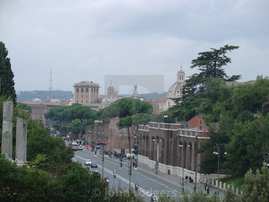 """""""Street View of Rome Featuring St Peters Basilica"""" stock image"""