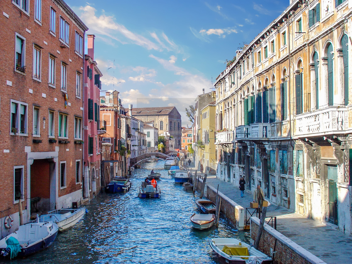 """Canal View Inside the Locals Area of Venice Italy"" stock image"