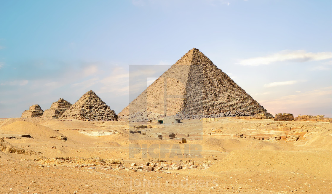 """Classic View of Egyptian Pyramids in the Sahara Desert"" stock image"