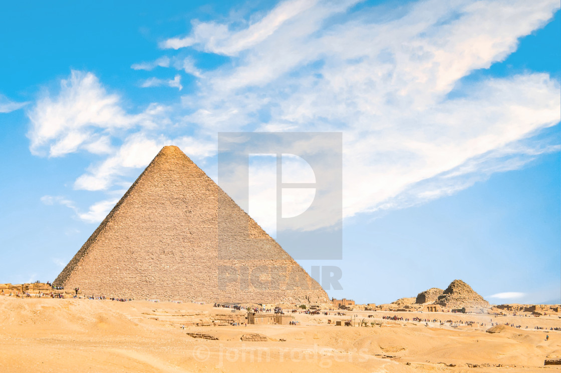 """Pyramids Out in Sahara Desert Viewed from Cairo, Egypt"" stock image"