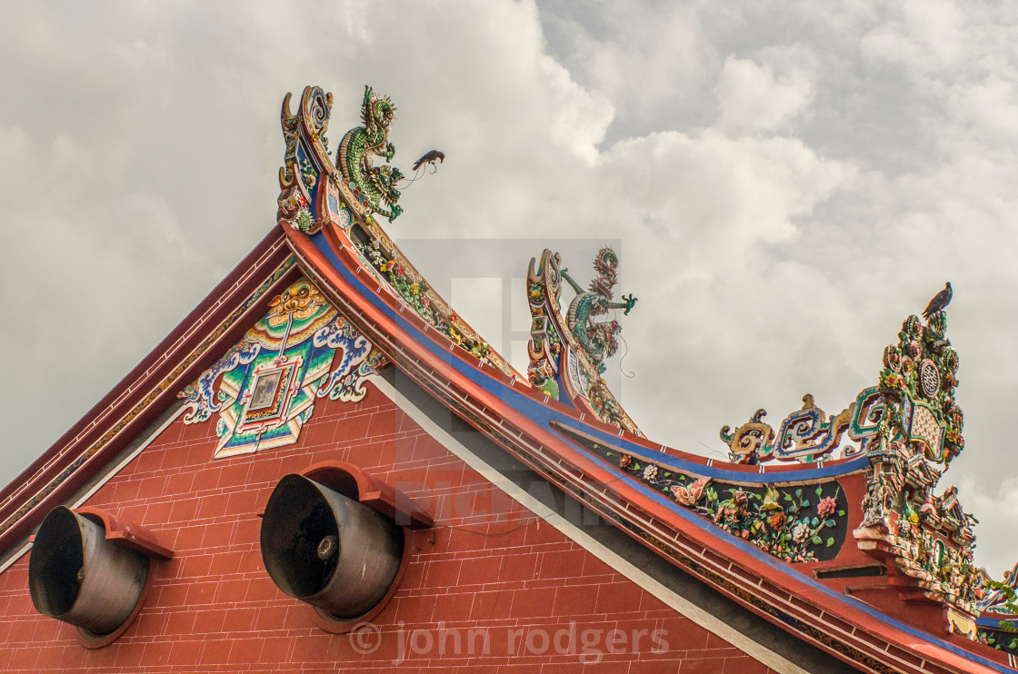 """Chinese Temple With Very Ornate Rooftop In Malaysia"" stock image"