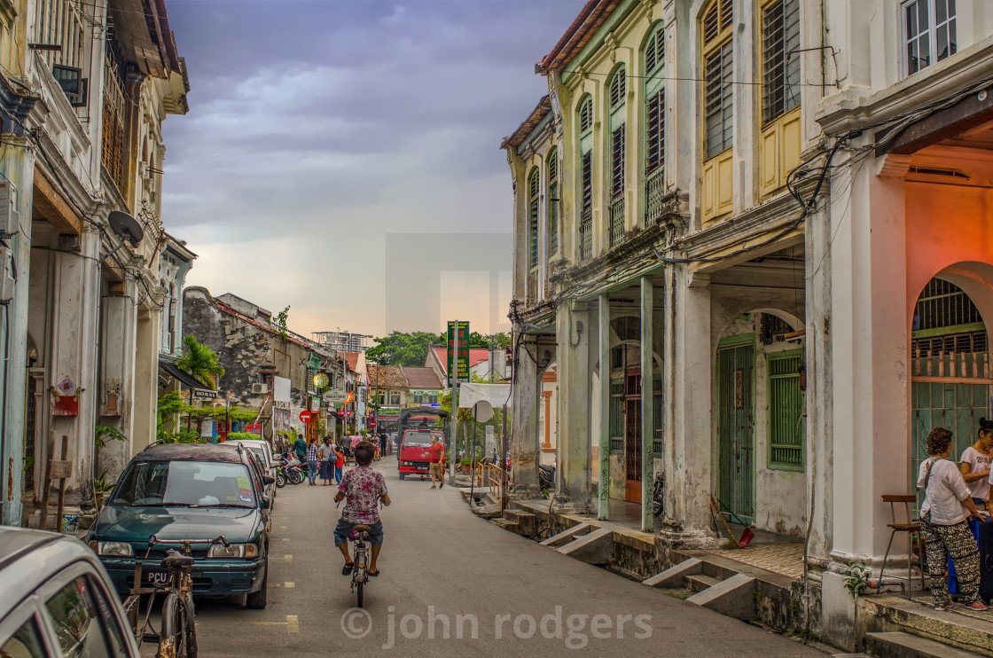 """View Down Love Lane in Penang, Malaysia"" stock image"