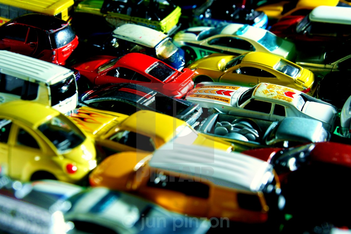 """Different types and colors of toy cars"" stock image"