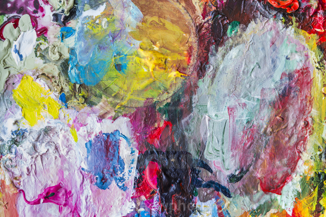 Abstract Acrylic Paint Palette Of Colorful Mix Color
