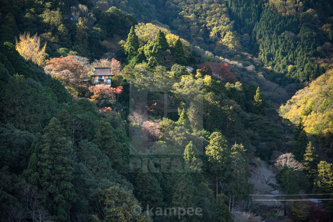 """aerial image, mountain of Arashiyama, famous tourist destination in Kyoto"" stock image"