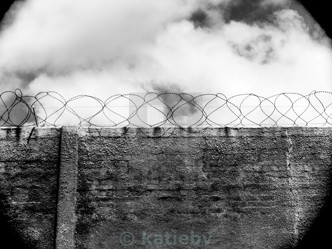 """""""Barbed Prison Walls"""" stock image"""