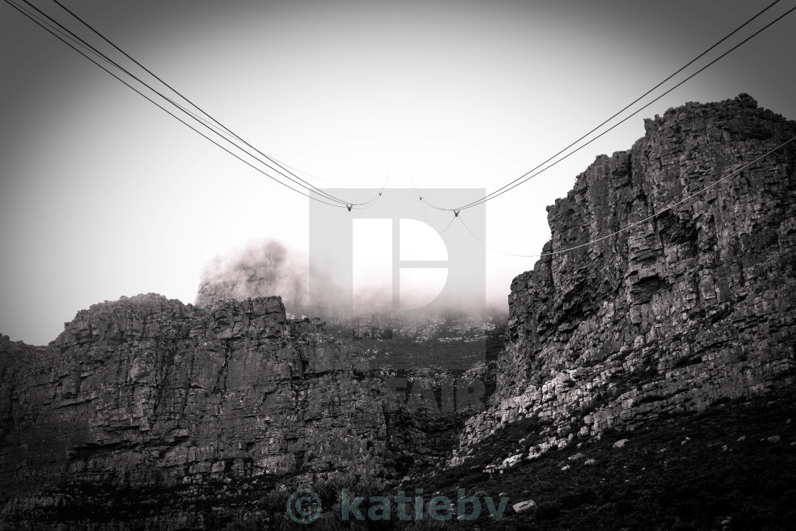 """Into the Mist on Table Mountain"" stock image"