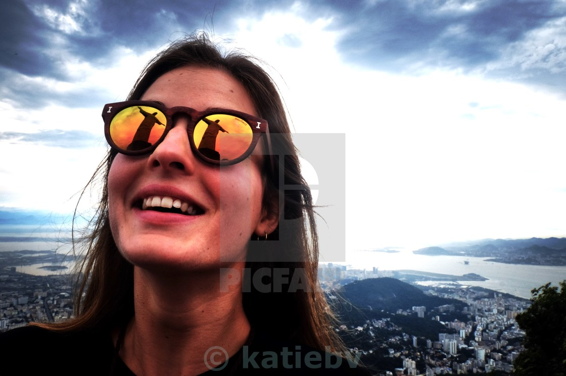 """Christ the Redeemer Sunglass reflection"" stock image"