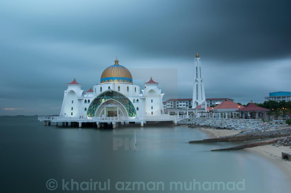 """""""Masjid selat Mosque in Malacca Malaysia"""" stock image"""