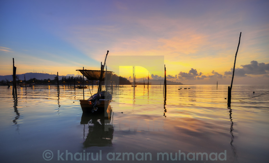"""""""Great view fishman boat during sunrise"""" stock image"""