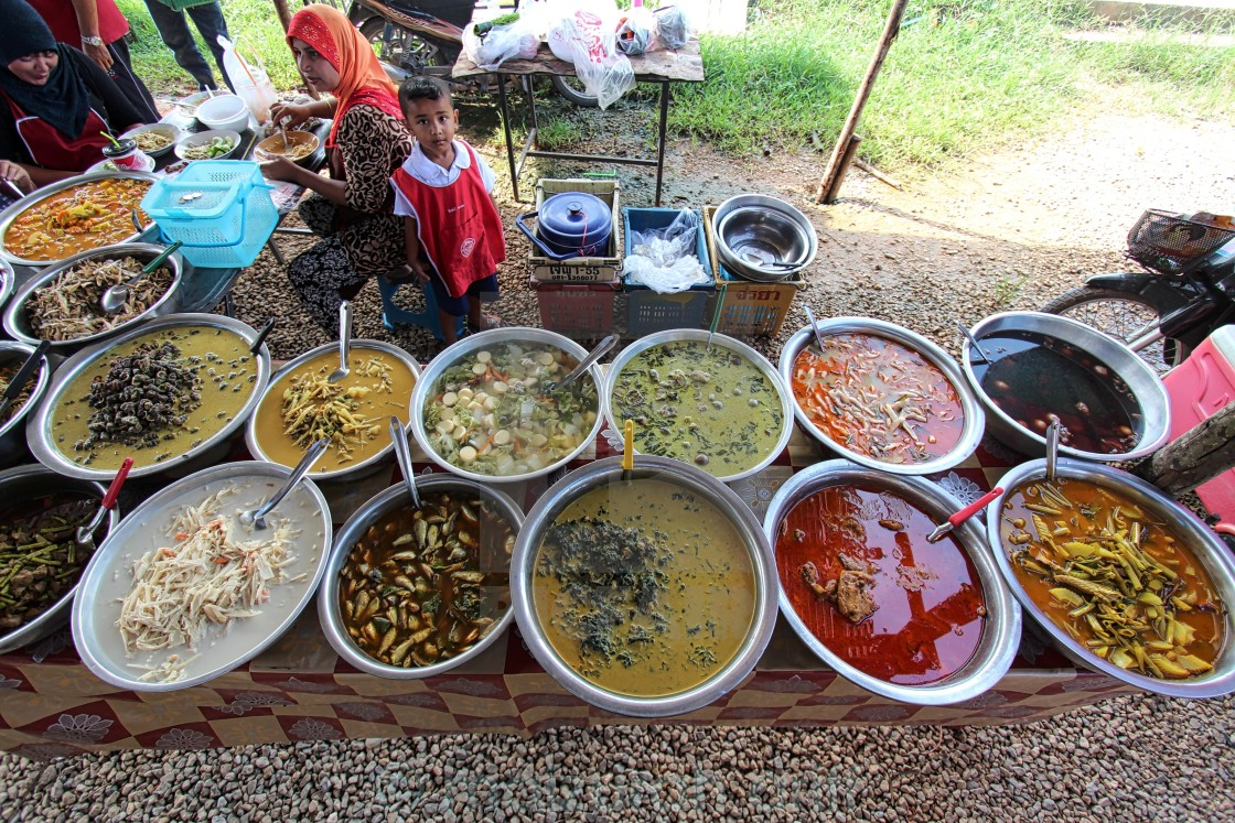 """local thai dishes sold at a local market in Krabi Thailand"" stock image"