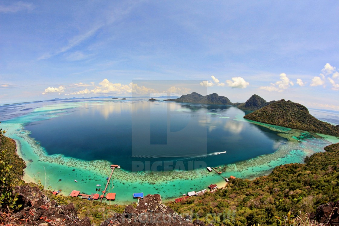 """Bird's eye view of a marine park in Sabah Malaysia"" stock image"