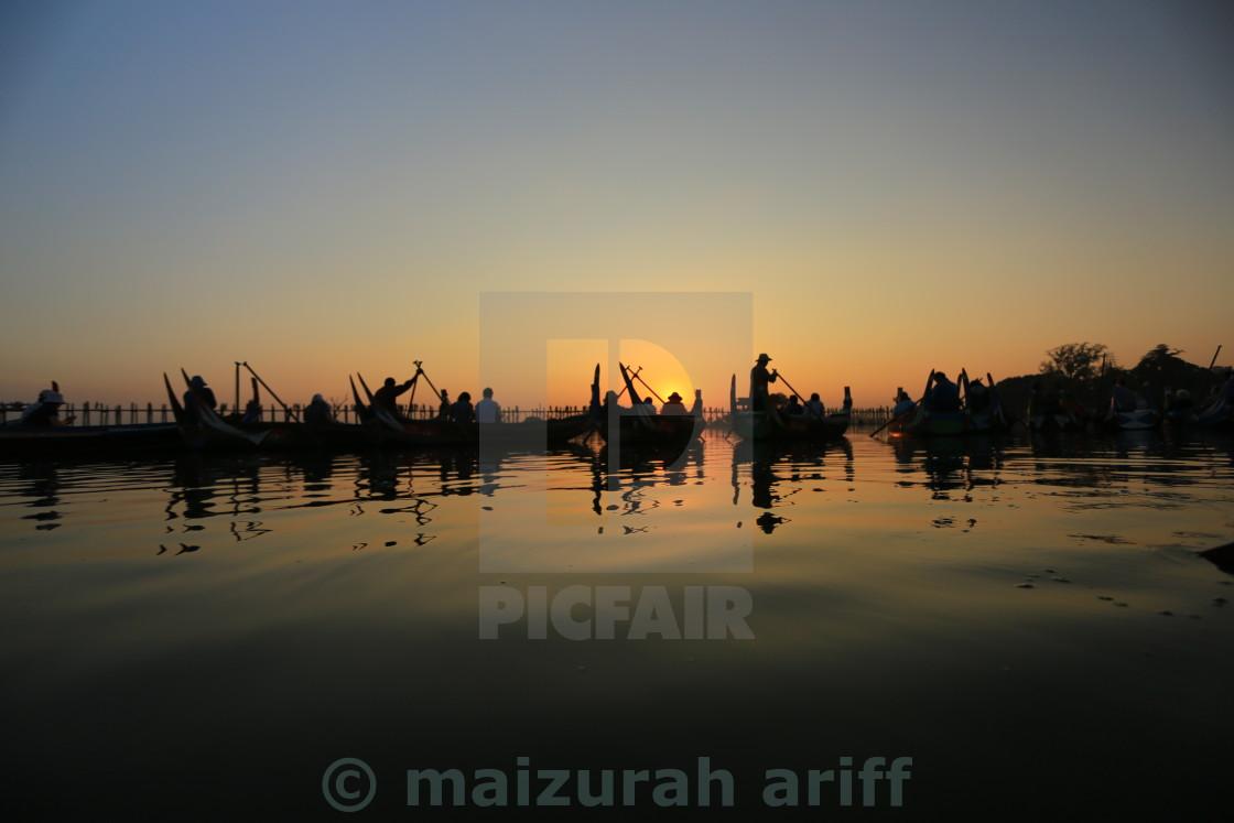 """sunset watch at amapura myanmar"" stock image"