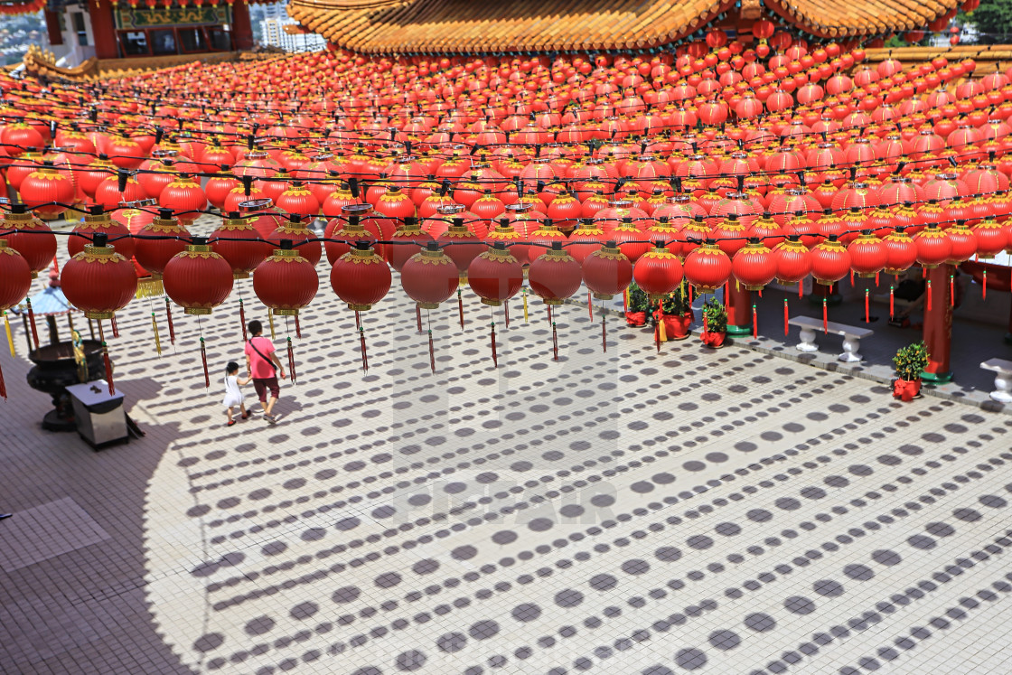 """red lanterns hanging at chinese temple as decoration for the new year"" stock image"