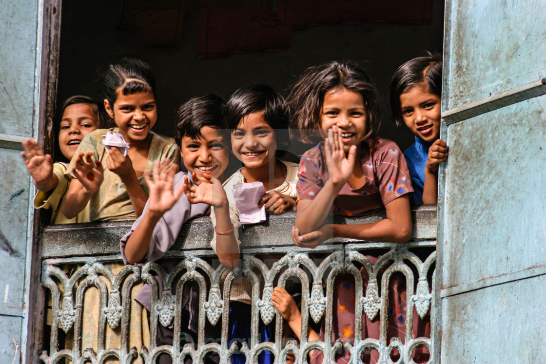 """Waving, Jaipur"" stock image"