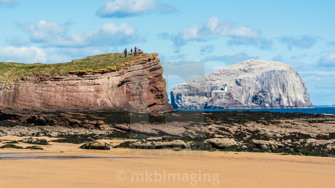 """Bass Rock and Seacliff Beach"" stock image"