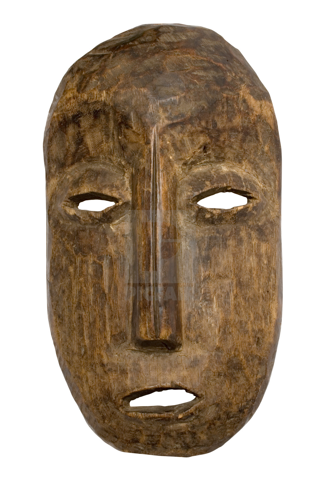 ancient wooden mask with clipping path license for 16311