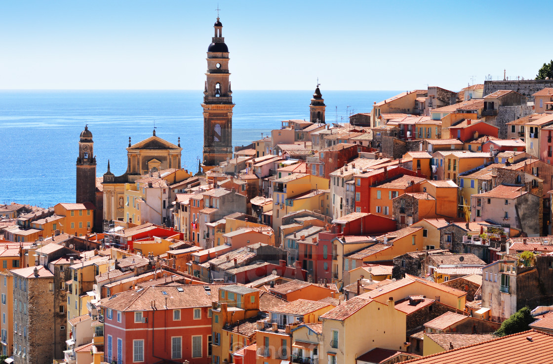 """Old town architecture of Menton on French Riviera"" stock image"