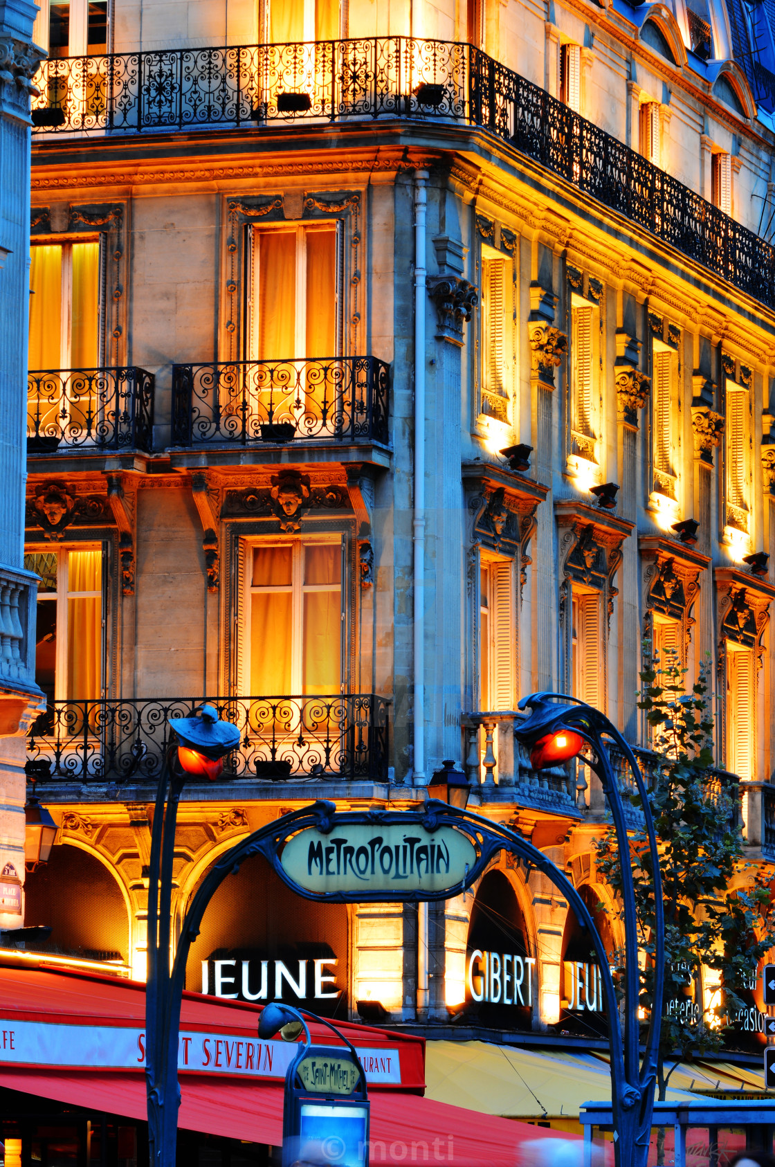 """Paris by night on famous Boulevard Saint-Michel near Latin Quarter"" stock image"