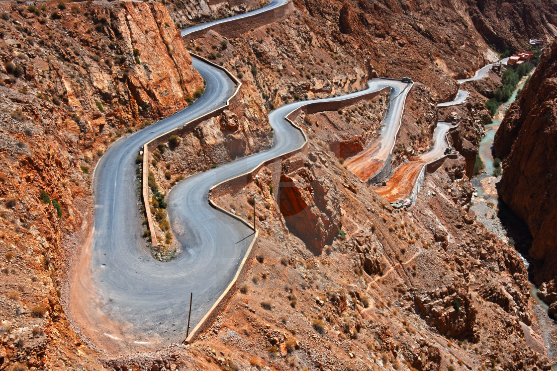 """Serpentine mountain trail in Gorges Dades in high Atlas, Morocco"" stock image"