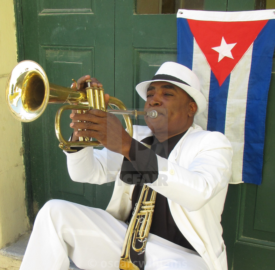 """Cuban flugelhorn player."" stock image"