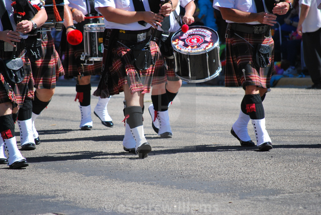 """Scottish bagpipe band."" stock image"