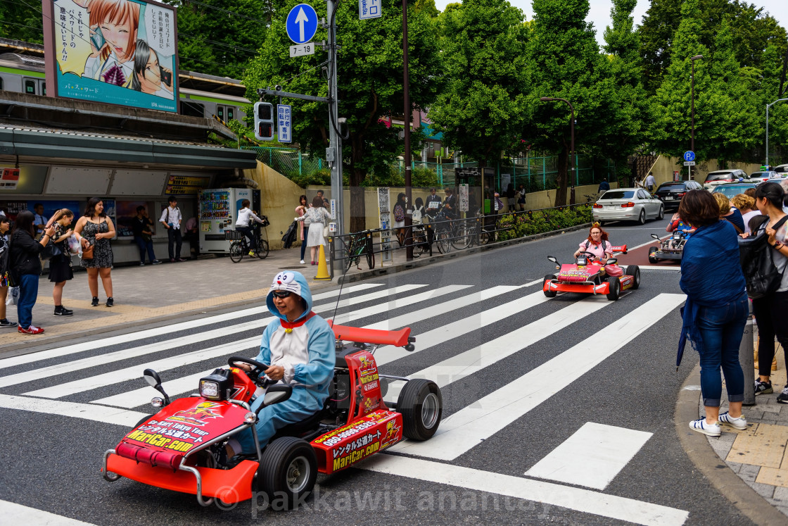 """Doraemon drive car to promote game, Tokyo"" stock image"