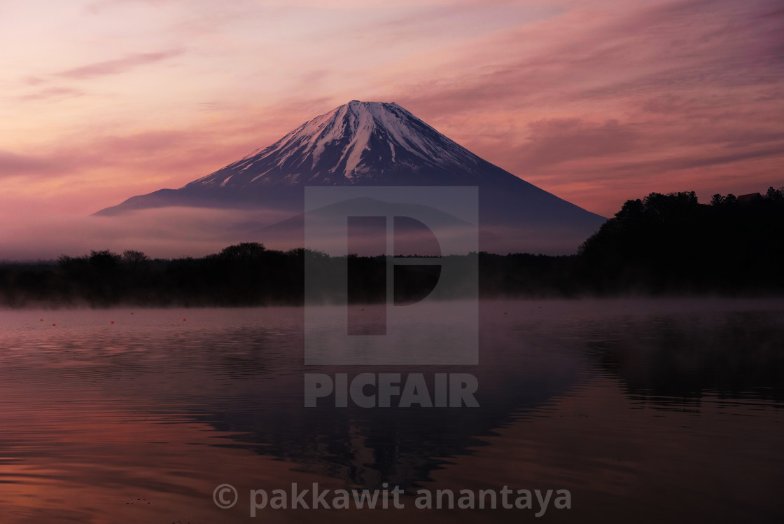 """Mount Fuji and Lake Shoji at dawn"" stock image"