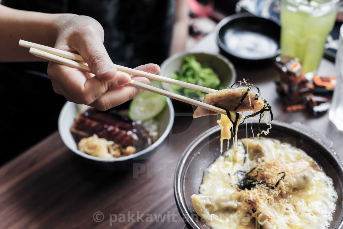 """Gyoza with melt cheese, Japanese food"" stock image"