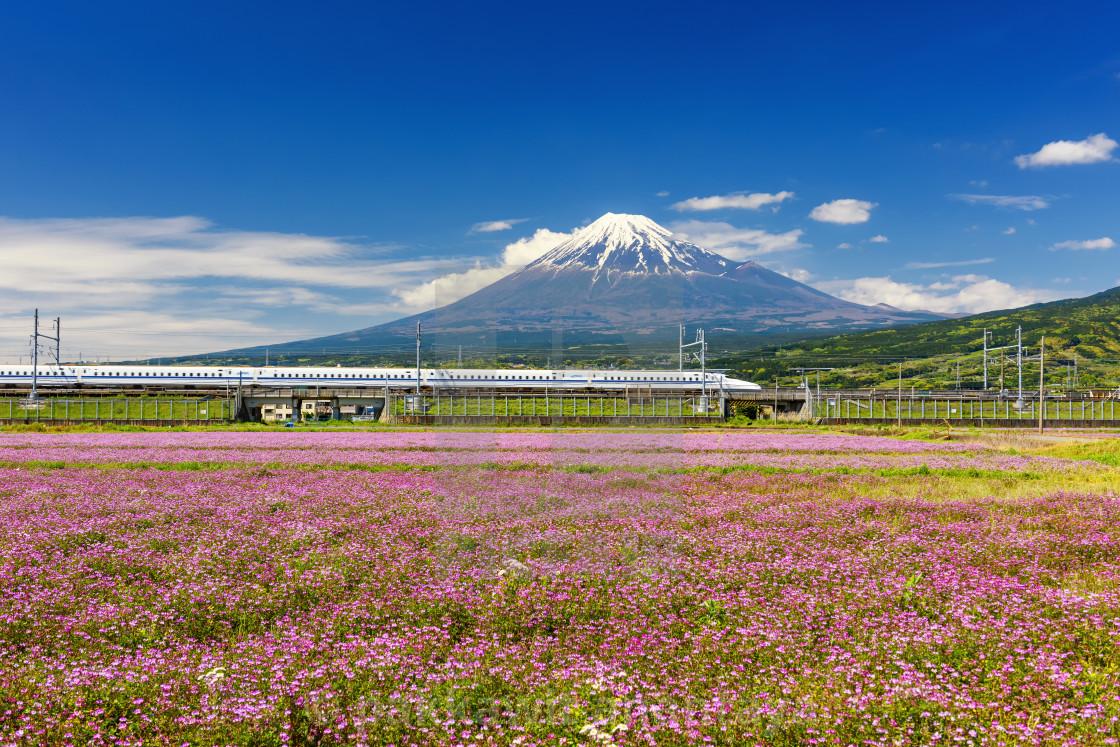 """Shinkansen bullet train with Mt. Fuji"" stock image"