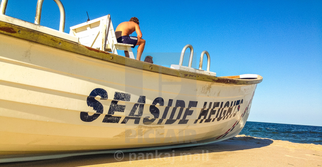 """Boat and horizon"" stock image"
