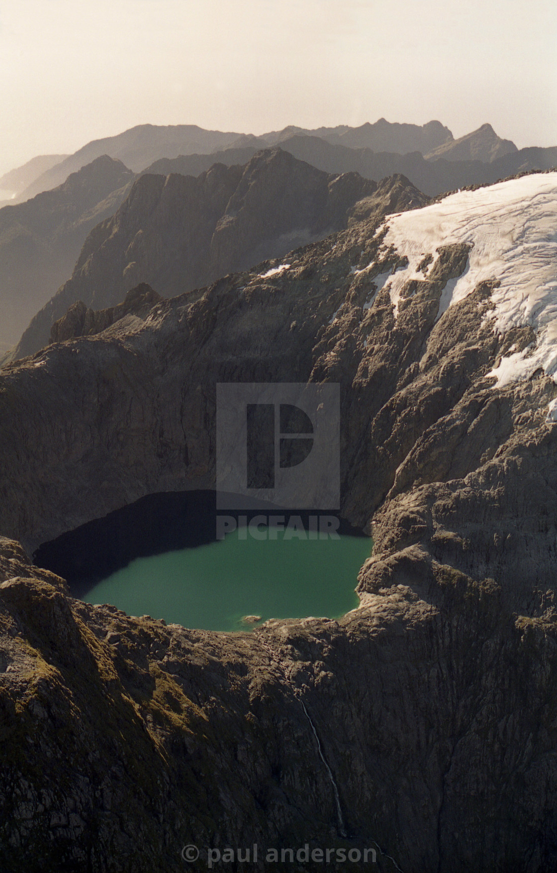 """Aerial view near Milford Sound, New Zealand"" stock image"