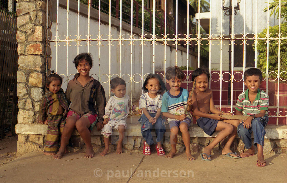 """A group of children in Cambodia"" stock image"