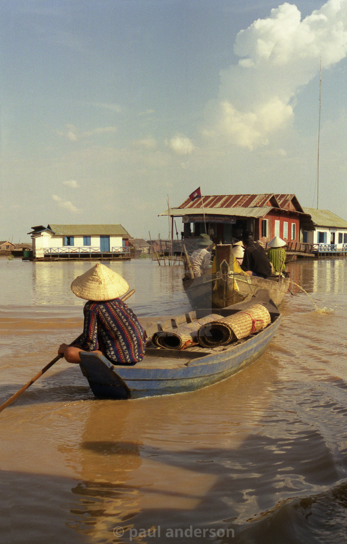 """Boat on Tonle Sap Lake in Cambodia"" stock image"