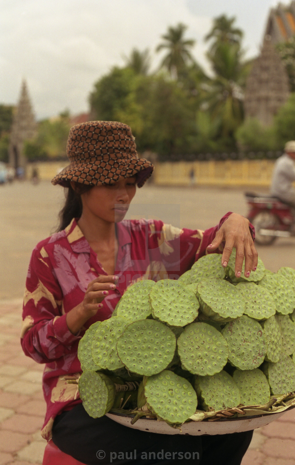 """Woman fruit seller, Cambodia"" stock image"