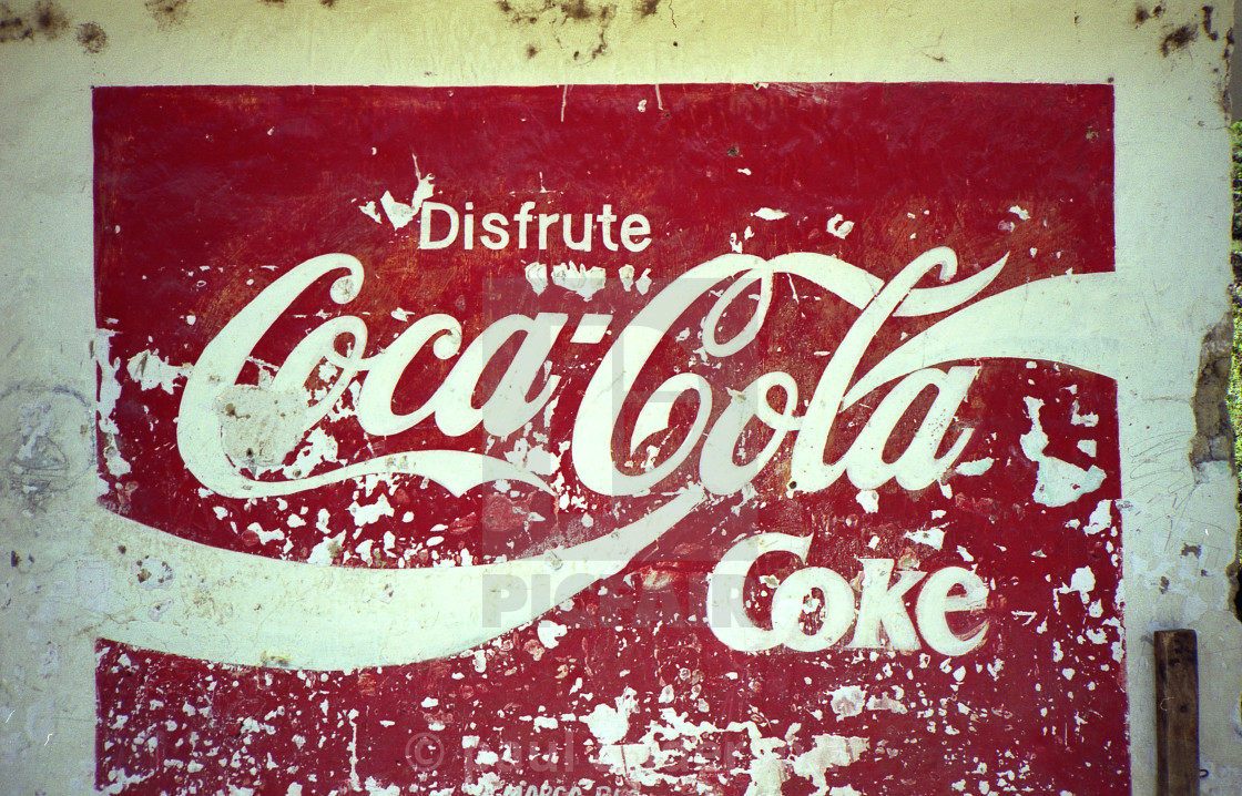 """Old Coca-Cola sign painted on wall"" stock image"