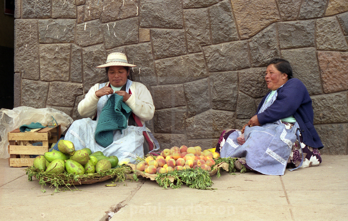 """Fruit sellers in Cusco, Peru"" stock image"