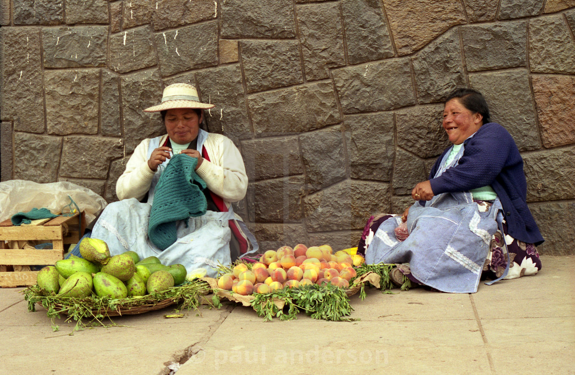 """Fruit sellers Cusco, Peru"" stock image"