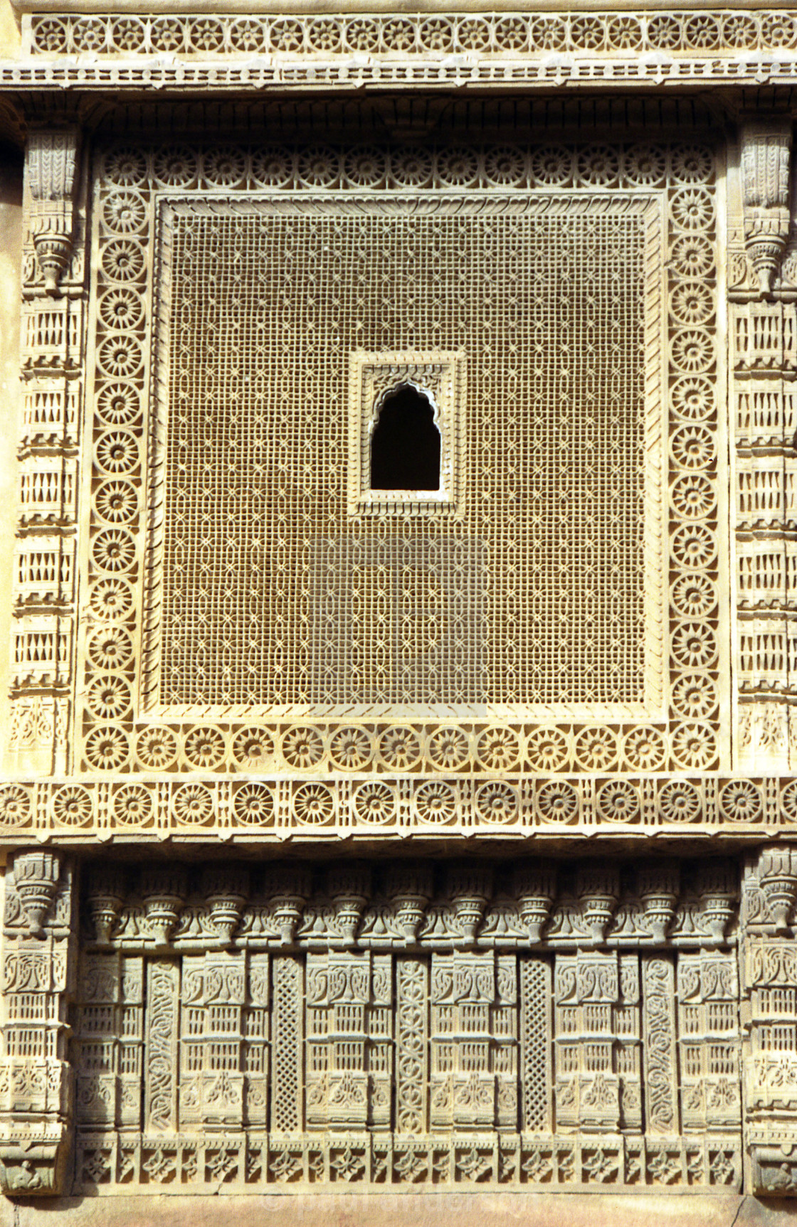 """Ornate window in carved stone in India"" stock image"