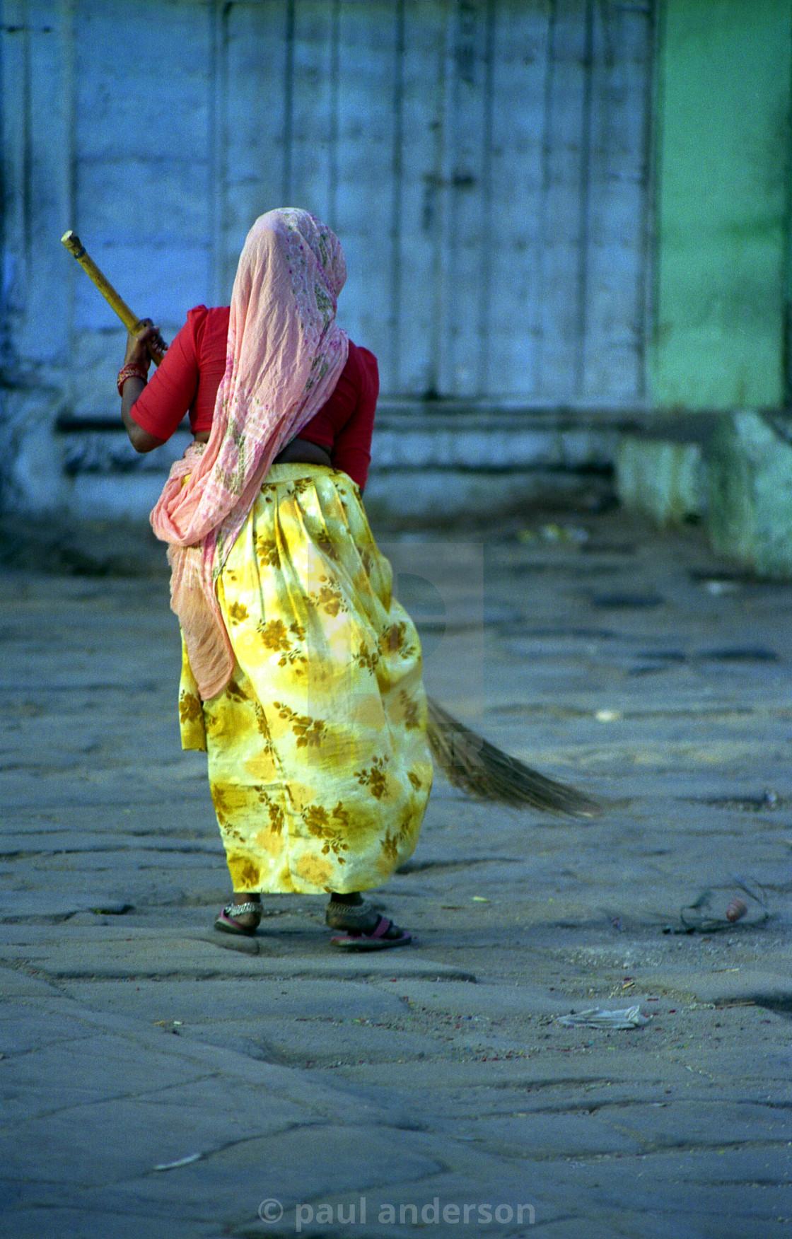 """female street cleaner Jaipur, India"" stock image"