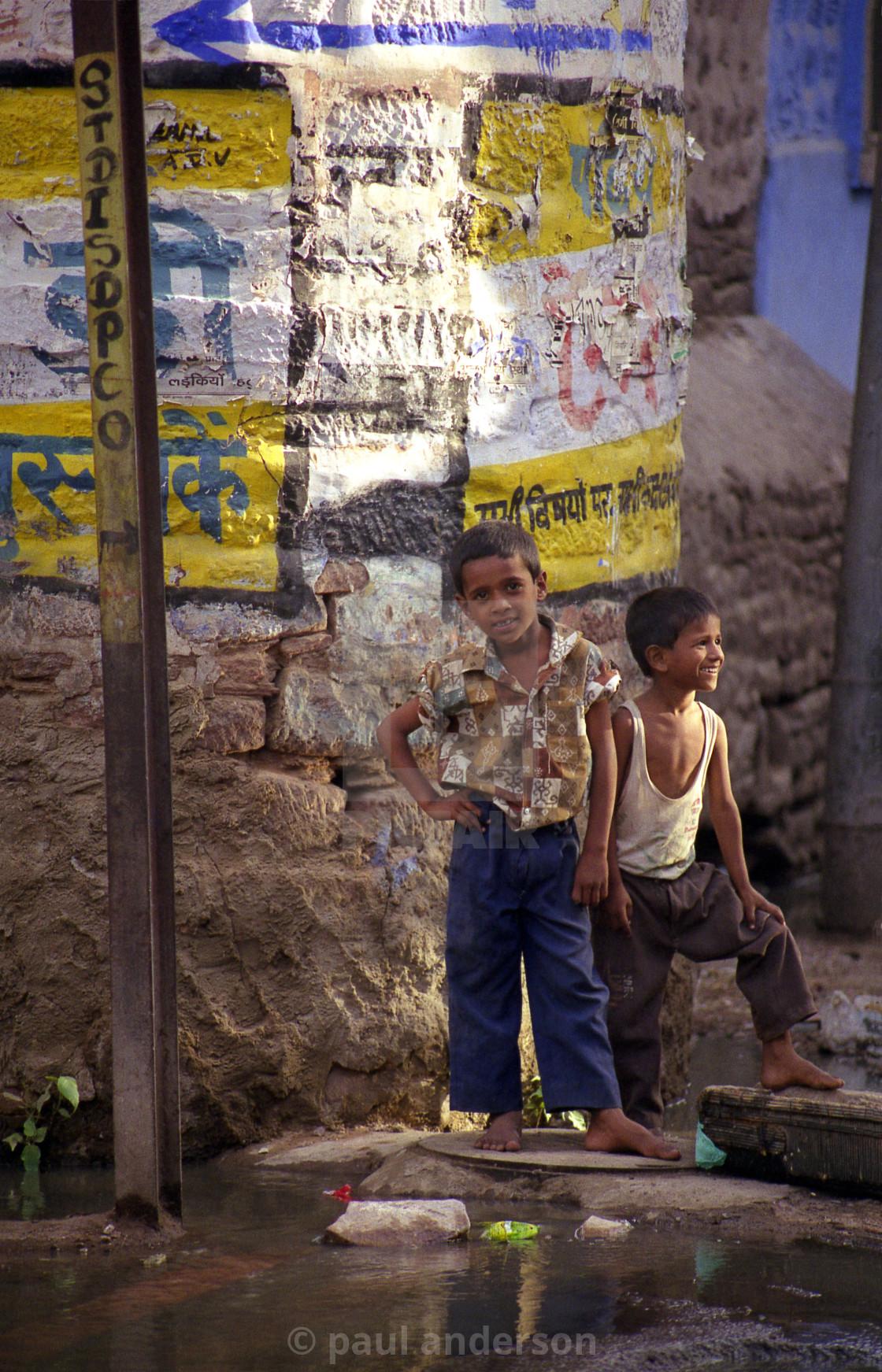 """Street kids, India"" stock image"