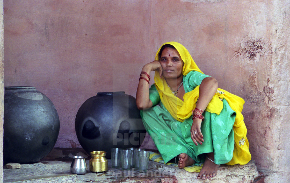 """A waterseller in India"" stock image"