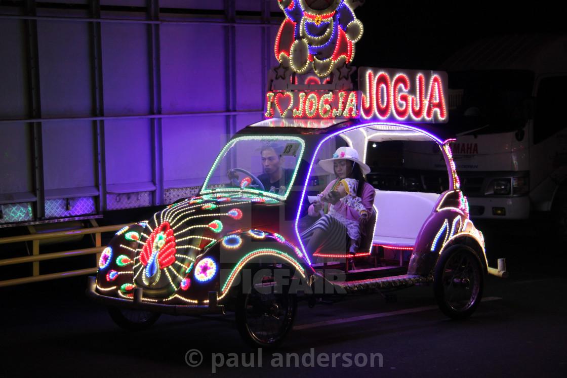 A pedal car in Yogyakarta, Java - License, download or print