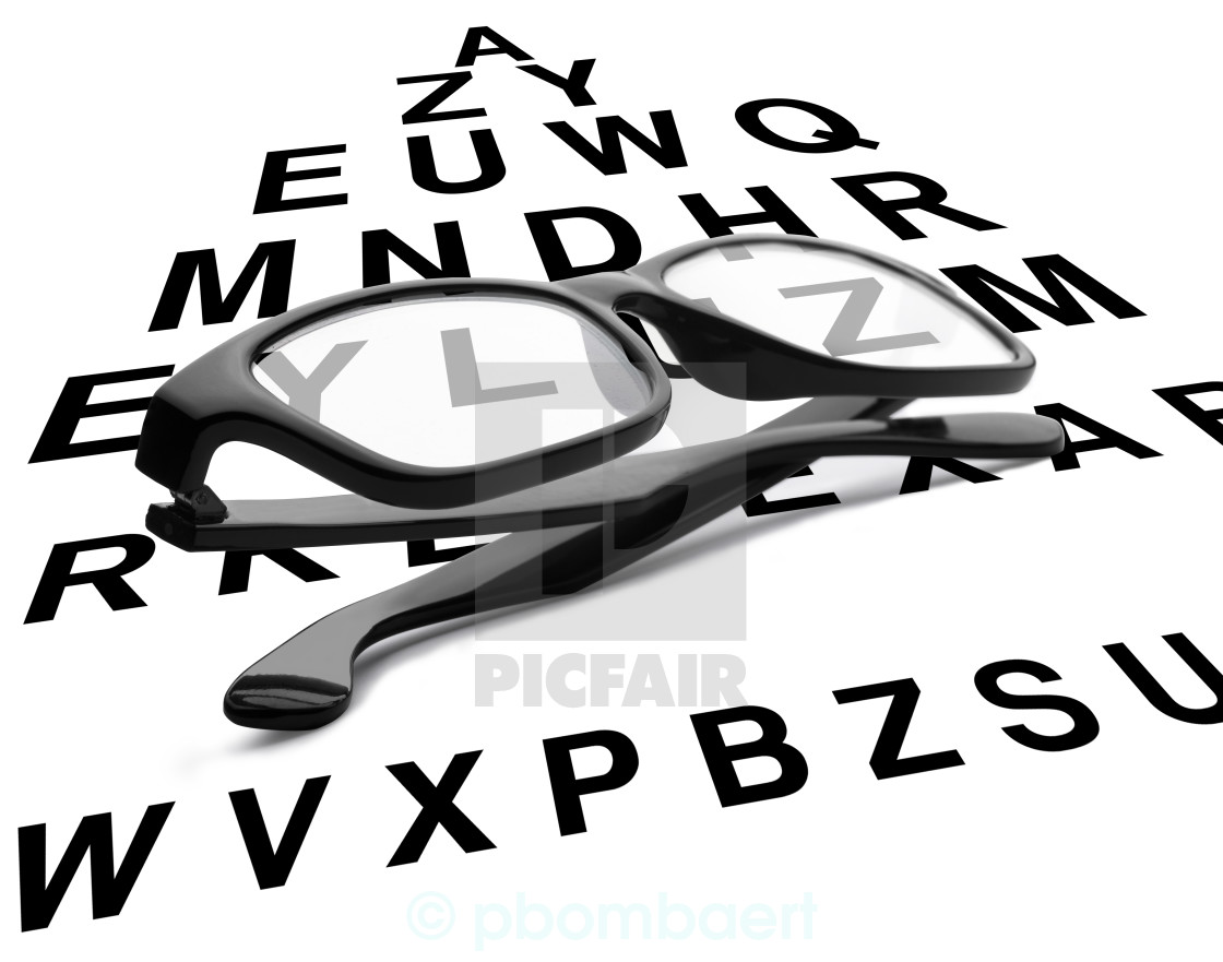 Reading glasses with eye chart - License, download or print