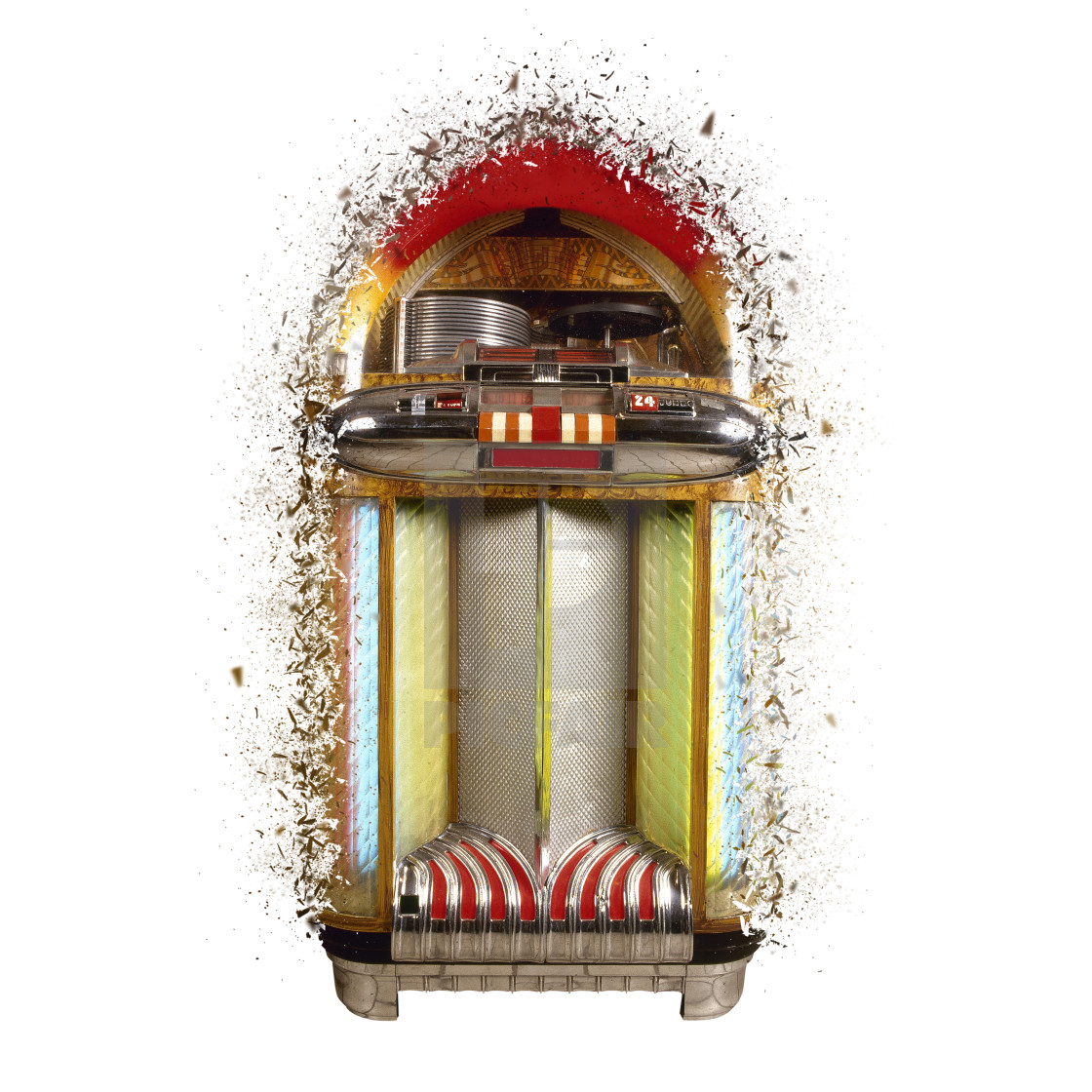 Old jukebox music player exploded - License, download or print for