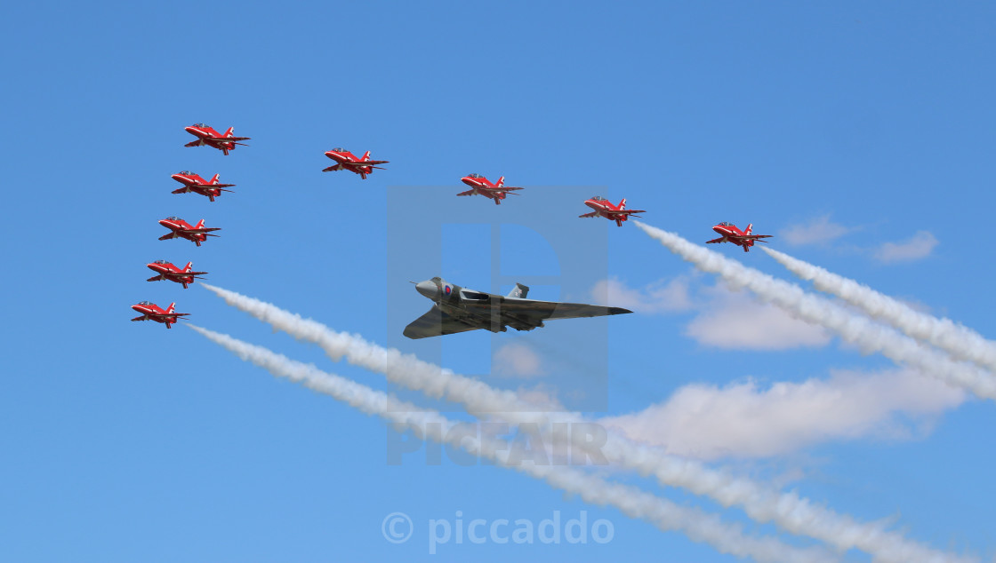"""Red Arrows with Vulcan"" stock image"