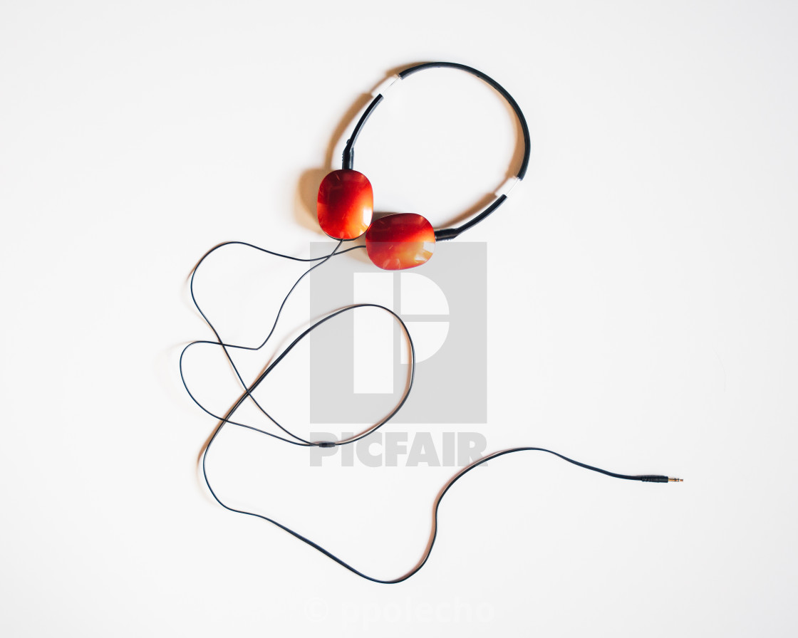 """Headphones On White"" stock image"