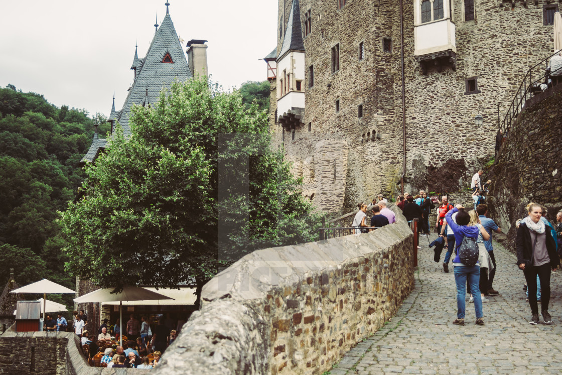 """Tourists at Burg Eltz"" stock image"