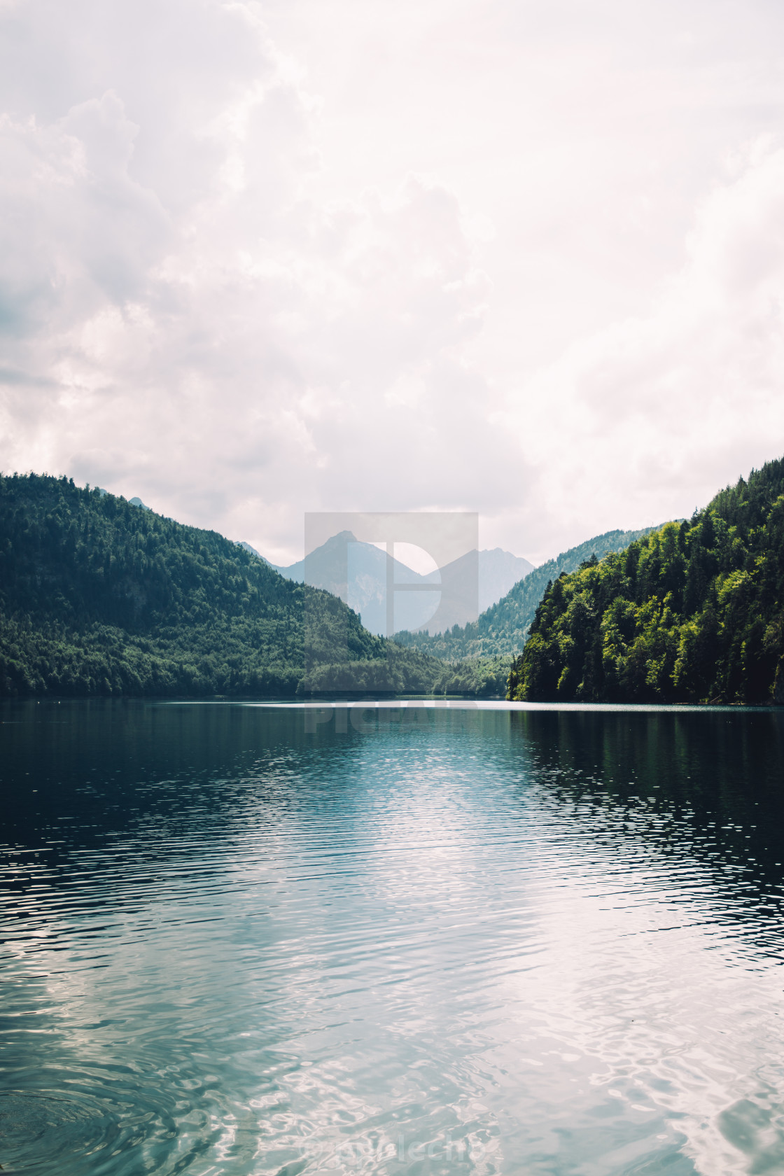 """Blue Dark Mountain Lake"" stock image"